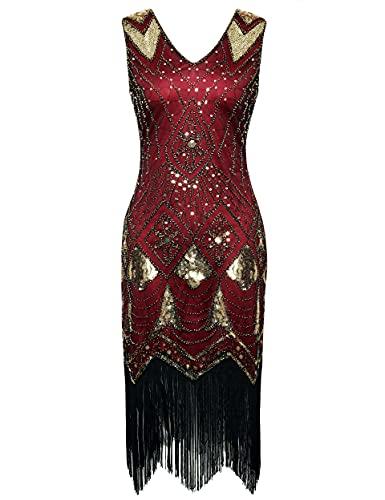 """Coucoland Sukienka damska z dekoltem w kształcie litery V, bez rękawów, z frędzlami, cekiny, sukienka z cekinami, w stylu """"Great Gatsby"""", sukienka koktajlowa, na imprezę, karnawał, kostium"""