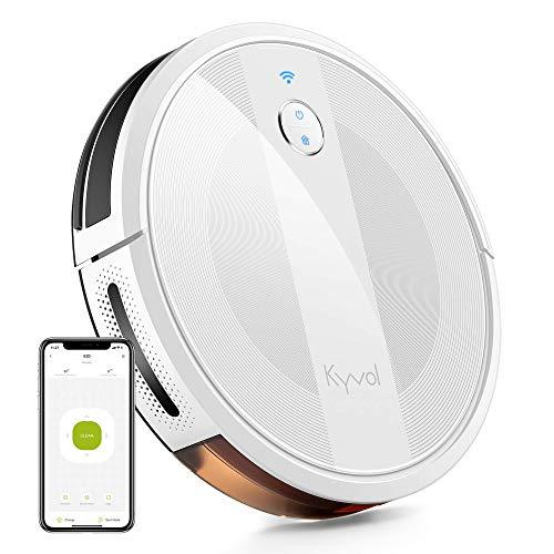 KYVOL Robot Aspirador E20, 2000 PA, 150 min Autonomía, Impulso Automático de Alfombra, Control por Voz Alexa y Google, Programable, Autocarga