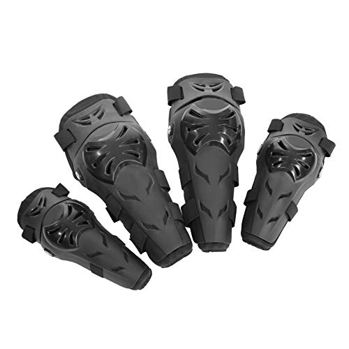 SOONHUA 4 Stück Motorrad-Knie- und Ellbogenschützer, verstellbar, Motocross, Radfahren, Ellenbogen- und Knieschützer, Schutzausrüstung, Set, Jugendschutz, schwarz