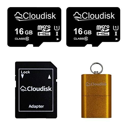 Cloudisk 2Pack Micro SD-Karte mit MicroSD-Adapter-Speicherkarte Class10 (2Pack 16GB)