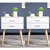 <span class='highlight'>Vanimeu</span> Set of 2 <span class='highlight'><span class='highlight'>Bedside</span></span> <span class='highlight'>Table</span>s White with 2 Drawers Storage Retro Bedroom Furniture <span class='highlight'>Wooden</span> (2 x White 2 Drawers <span class='highlight'><span class='highlight'>Bedside</span></span> <span class='highlight'>Table</span>s)