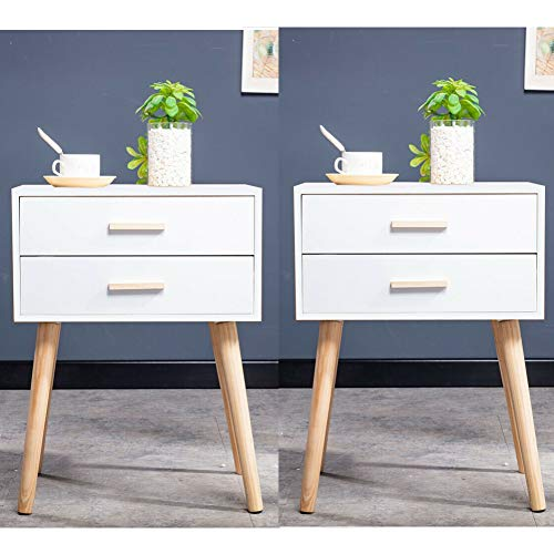 Vanimeu Set of 2 Bedside Tables White with 2 Drawers Storage Retro Bedroom Furniture Wooden (2 x White 2 Drawers Bedside Tables)