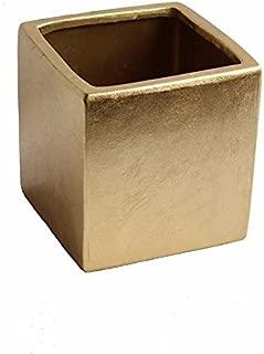 Afloral Gold Ceramic Cube Vase