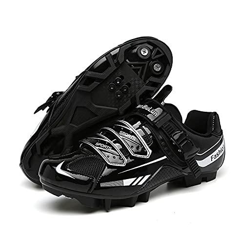 Calzado de Bicicleta de Montaña para Hombre,Zapatillas de Ciclismo MTB Unisex Zapatillas de Ciclismo Al Aire Libre Transpirables Compatibles con Tacos SPD,Black-39