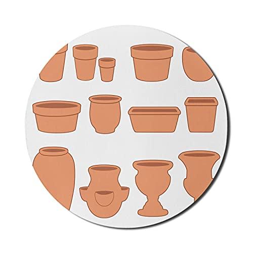 Clay Mouse Pad für Computer, Gartenpflanze Themen Runde quadratische Zwiebel Pfanne Blumentöpfe Schlammtöpfe Untertassen Druck, Runde rutschfeste dicke Gummi Modern Gaming Mousepad, 8 'Runde, weiß geb