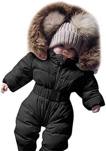 Mameluco de algodón grueso para niños y niñas, traje de dormir para niños, pijama de manga larga con capucha, pijama acolchado de piel sintética con capucha para niños y niñas