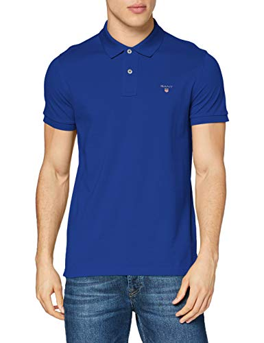 GANT The Original Pique SS Rugger Polo, Bleu (Yale Blue 436), L Homme