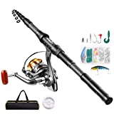 Castaroud Telescopic Fishing Rod and Reel Combos Full Kit, Carbon Fiber Fishing Pole with Spinning Reel for Saltwater Freshwater Adults