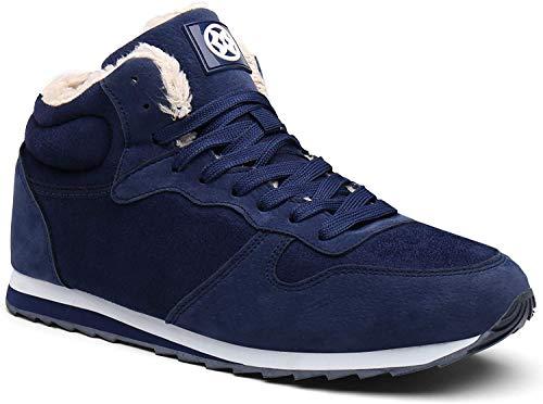 Gaatpot Zapatos Invierno Botas Forradas de Nieve Zapatillas Sneaker Botines Planas para Hombres Mujer Azul EU 41.5 = CN 43