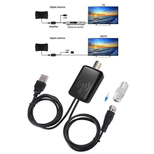 EEEKit Amplificateur d antenne de HDTV, propulseur de Signal à Faible Bruit de Satellite numérique avec des lumières pour l antenne de TV HDTV avec l alimentation d énergie d USB