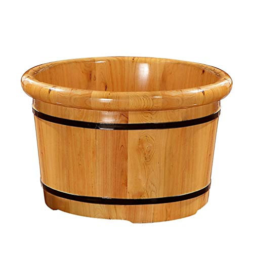 Review NCHEOI Pedicure Foot Bath Barrel Covered Foot Basin Solid Wood Foot Bath Thickened Foot Spa B...