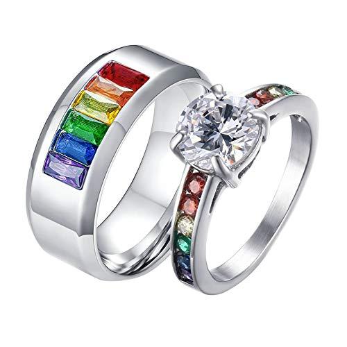 ANAZOZ 2 Stücke Paarringe Edelstahl Damen Ring Pilgrim 8mm Titan Breiter Ring aus Besteck Trauringe Partnerringe Eheringe Damen Größe 57 (18.1) & Herren Größe 49 (15.6)