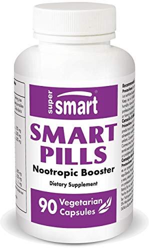 Supersmart - Smart Pills - Con Bacopa Monnieri, Ginkgo biloba & L-teanina - Super Nootropico - Integratore per Rafforzare le Attività Cerebrali e l'Attenzione - Pillole con Caffeina | No-OGM