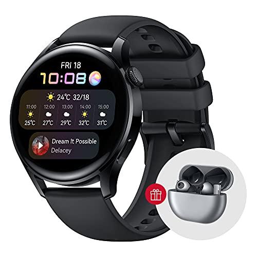 HUAWEI Watch 3 | GPS-Smartwatch mit Sp02 und Gesundheitsüberwachung für den ganzen Tag | 14 Tage Akkulaufzeit – Schwarzes Fluorelastomer-Band
