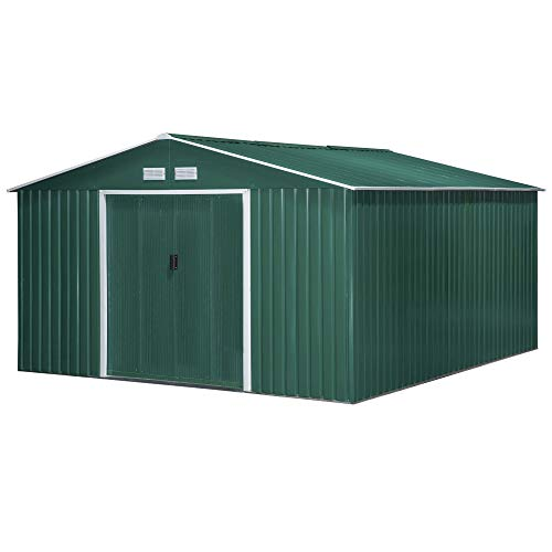 Outsunny 13 x 11ft Outdoor Garden Roofed Metal Storage Shed Tool Box with Foundation Ventilation & Doors, Green