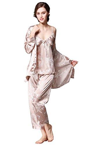 Evedaily Damen Pyjama Set Satin Schlafanzug Sleepwear Homewear 5 Farben