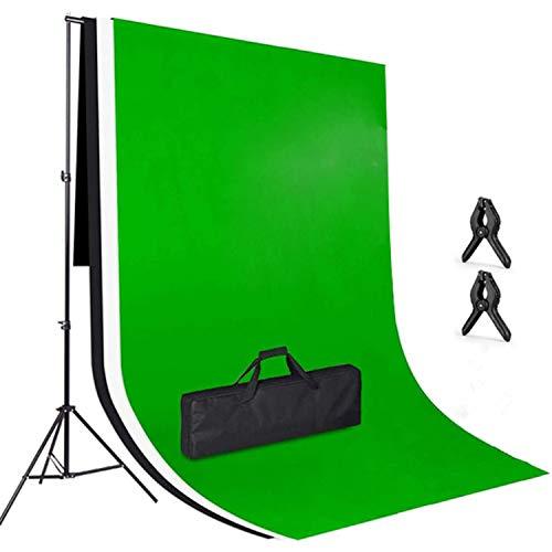 Amzdeal 3 × 2m Soporte de Fondo, con 3 Fondos Fotográficos (Verde Blanco Negro)en Tela Lavable y planchable, Soporte Ajustable en Altura de 3 × 2 m 65-200 cm para Photo Studio Portrait Video Objeto