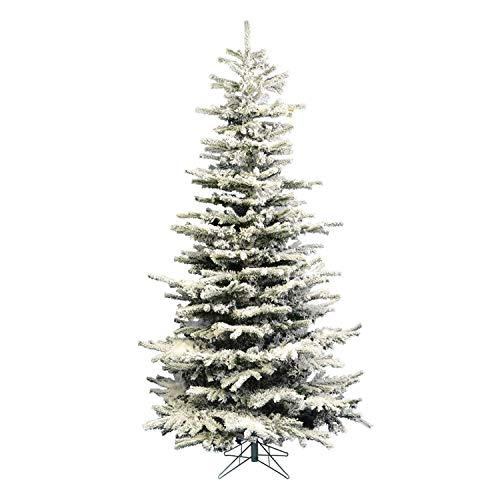 Vickerman Flocked Slim Sierra Flocked White on Green Christmas Tree, 7.5-Feet
