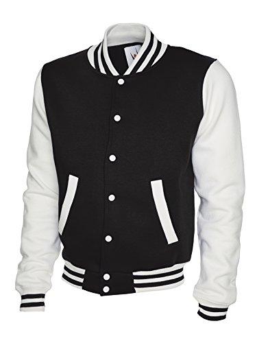Veste de baseball Varsity Bomber University College Sports pour homme Noir/blanc Taille XL