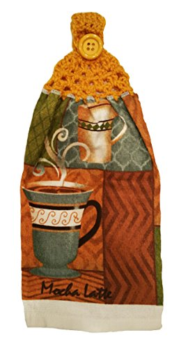 Designs from the Heart Handcrafted Gold Crochet Topped Coffee Theme Kitchen Towel
