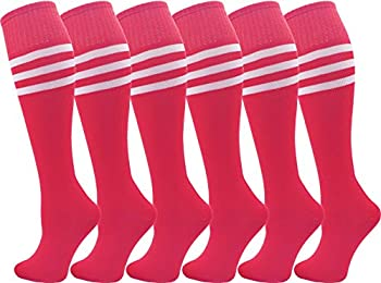Kids Soccer Socks 6 Pairs for Boys Girls Knee High Athletic Sports Football Gym School Team Pack for Children Youth