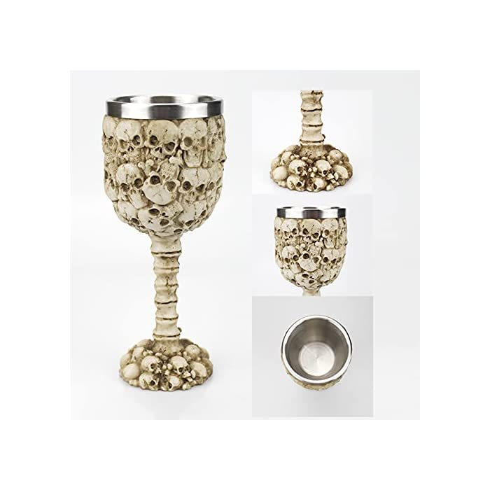 Halloween Goblet Wine Glass Medieval Gothic Petal Textured Skull Head With Stainless Steel Insert Skull Halloween Table Decoration 7oz