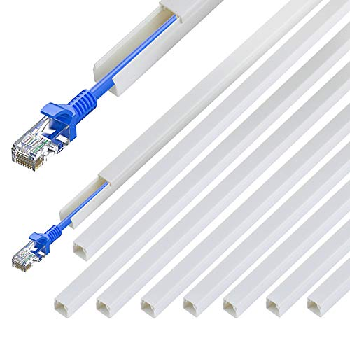 """PQPB Cable Concealer Wall Cord Hider 142""""(11.8ft) Cord Cover Channel, Cable Raceway Management for Hiding Wall Mount Ethernet Cable Computer Cords in Home Office, 9X L16in X W0.4in X 0.4in, White"""
