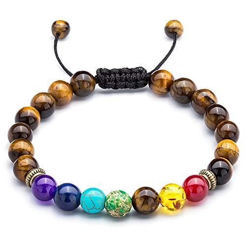 Aiasiry Pulsera de Piedra Natural Multicolor Pulsera Tejida a Mano Pulsera con dijes de 7 Chakras (Multicolor)