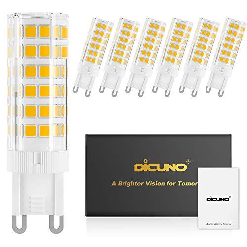 DiCUNO G9 6W Dimmbar LED Lampe, 550LM, Warmweiß 3000K, 220-240V, Ersatz für 60W Halogen Leuchtmittel, Bi-Pin G9 Sockel, (6er-Pack)