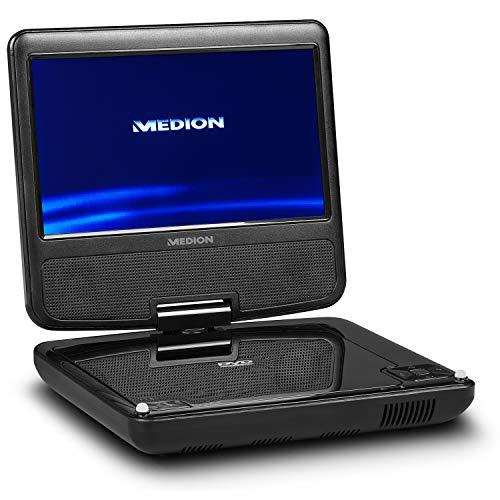 MEDION E72054 17,7 cm (7 Zoll) tragbarer DVD Player (drehbares Display, Auto-Kopfstützenhalterung, Autoadapter, Kopfhöreranschluss, USB, Xvid, AVI, MPEG4, MP3, Akku, Fernbedienung)