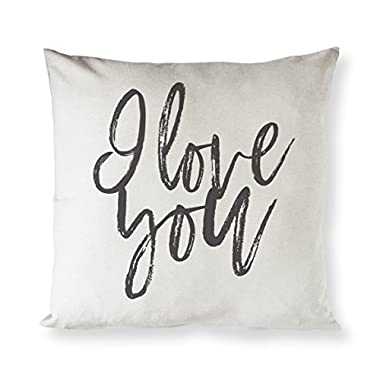 The Cotton & Canvas Co. I Love You Home Decor Pillow Cover, Pillowcase, Cushion Cover and Decorative Throw Pillow Cover for Valentine's Day and Gifts for Her (Natural Color, Not White)
