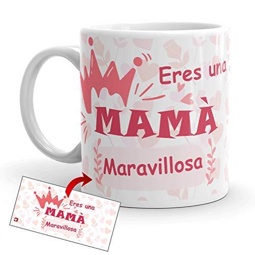 Kembilove Taza Desayuno para Madres – Tazas Originales Graciosas con Mensaje Eres una mamá maravillosa – Taza de Café y Té para Madres para regalar el día de la madre – Tazas de 350 ml