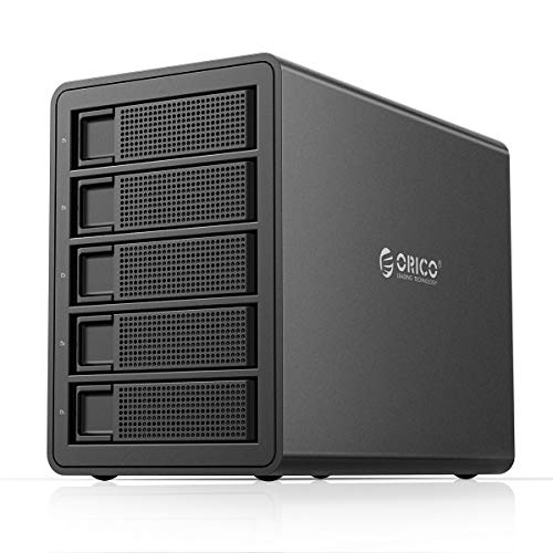 ORICO 5 Bay USB 3.0 to SATA External Hard Drive RAID Enclosure Support 80TB, 2.5/3.5 inch HDD SSD Enclosure Built-in 150W Power/Dual Chip for Enterprise Server Expansion (Support RAID)