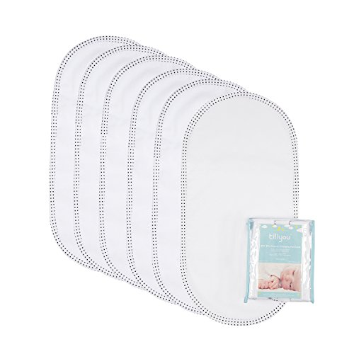"""TILLYOU Larger Softer Changing Pad Liners Waterproof, Washable Reusable Changing Table Cover Liners Double Layers, 100% Cotton Flannel Surface, 27""""x13"""" 6 Count"""