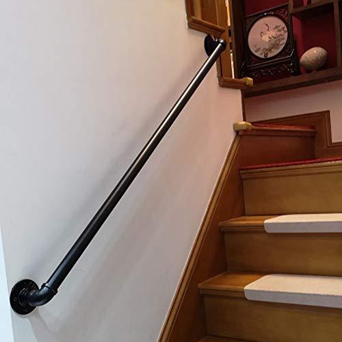 Handrail Industrie Handlauf Kit | Treppengeländer For Innen Und Außen, Banister Sicherheit Geländer Rail Support For Ältere Menschen, Kinder, Schwarz Schmiedeeisen (35-300cm) AAA++++ ( Size : 120cm )