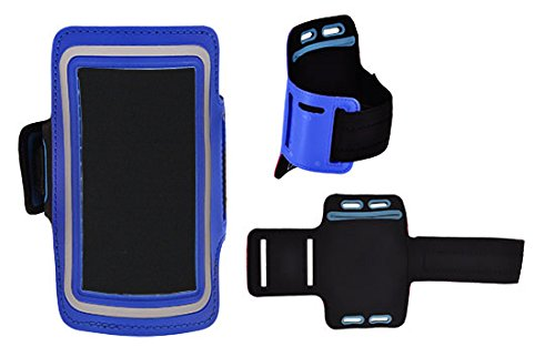Design Sport-armband Tasche in Blau für Huawei Mate 9 Porsche Design Neopren Anti Rutsch mit Reflektion Schlüssel / Kopfhörer Halter Reißverschluss & 2 Einstellungsmöglichkeiten