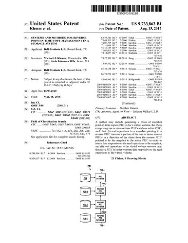 Systems and methods for reverse point-in-time copy management in a storage system: United States Patent 9733862 (English Edition)