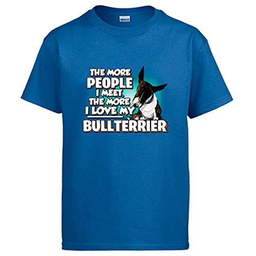 Diver Bebé Camiseta I Love my Bullterrier Atigrado Raza Perro - Azul Royal, S