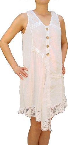 07718vestido de lino 100{1066340bc4387140fc34877973b8857392a403d9d89570a181191cfd5250a0a9} lino, disfraz de túnica de la mujer, Beige, Marrón, Verde, Rojo, Color blanco, M, L, XL, XXL. Blanco blanco 42