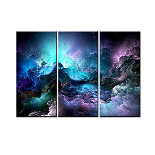 AUNMAS waterdichte muurschildering sterrenhemel patroon triptychon muurkunst schilderij 3 platen canvas wandhouder decoratie