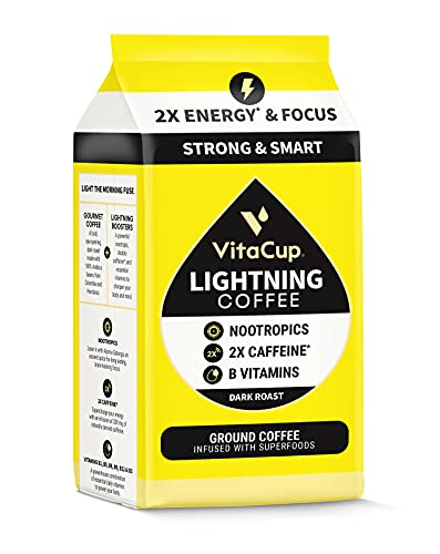 VitaCup Lightning Dark Roast Ground Coffee, Strong High Caffeine, Brain Booster Nootropics, B Vitamins for Enhanced Energy & Concentration for French Press & Drip Coffee Maker, 12 oz