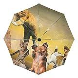Ombrello da viaggio piccolo Antivento Pioggia da esterno Sole UV Auto Compatto Ombrelli da 3 pieghe Copertura - Animali Cani Giochi per gatti Giochi per cuccioli giovani
