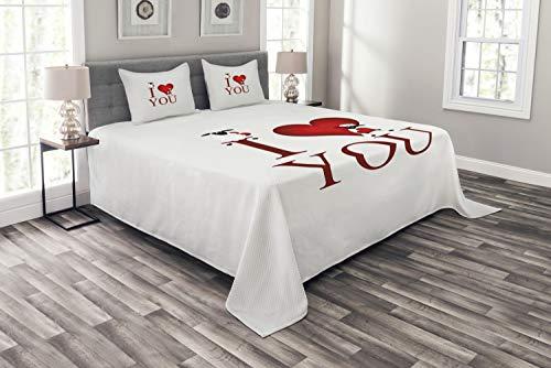 ABAKUHAUS Ich Liebe Dich Tagesdecke Set, Schafe & rotes Herz, Set mit Kissenbezügen Sommerdecke, für Doppelbetten 264 x 220 cm, Weiß Rot