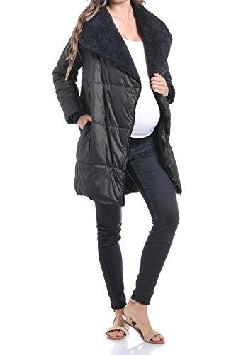 Beachcoco Women's Maternity Comfortable Zipper Light Weight Long Jacket (L, Black)