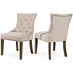 Padded Fabric Dining Chairs 300 Pound Capacity By Merax