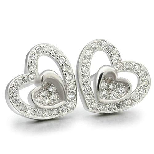 Women Earrings Silver Plated Heart Shape Ear Studs Women's Earrings Novelty Jewelry Dangler/Silver,Colour Name:Rose Gold Bracelets Earrings Rings Necklaces (Color : Silver)