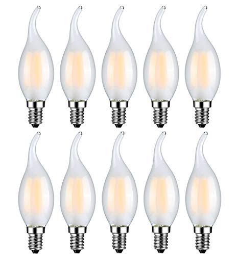 MENTA E14 LED Kerzenform 4W ersetzt 40 Watt Warmweiß 2700K E14 Filament Fadenlampe C35 E14 Kerze LED Lampe 220-240V AC 400lm 360° Abstrahlwinkel Nicht Dimmbar Matt 10er-Pack