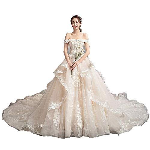 Elegant Dress Frauen Quinceanera Kleider Schulterfrei Perlen Spitze Appliques Lange Zug Braut Kleid Brautkleid für Hochzeit, Champagner, Klein