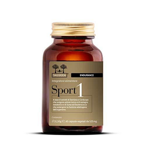 Sport 1 Endurance Salugea 100% Naturale - Integratore per la Resistenza negli sport di endurance - Damiana, Cordyceps, Suma e Eleuterococco - Flacone