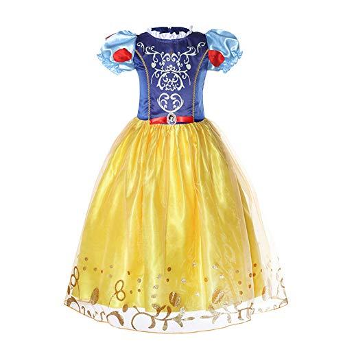 Princess Kostuums Dress, Yellow Beauty Princess Deluxe Party Fancy Dress Up Pageant Prom baljurk voor meisjes,100